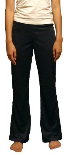 (送料無料)レディース・ブーツカットパンツ ヨガパンツ/飾りポケット付き (ブラック LL/股下72cm)