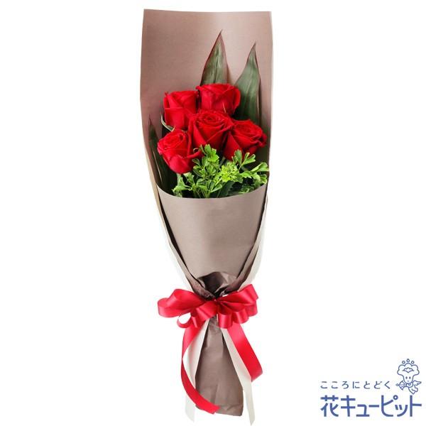 【お祝い】 花キューピットの赤バラ5本の花束 花 誕生日 記念日 歓送迎 結婚祝いyc00-512083