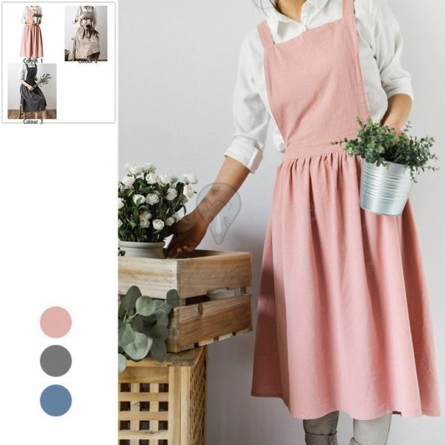 エプロン オリジナル 綿麻製 三色 カフェ 保育士 介護 オシャレ 無地 快適