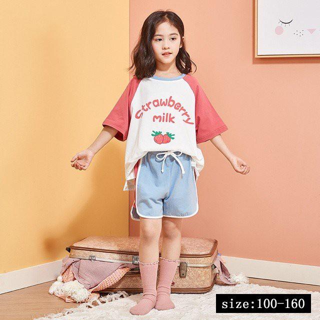 キッズ パジャマ セットアップ 子供パジャマ 寝スカート 女の子 ベビー 夏 いちご 薄手 トップス+半ズボン 半袖 プリント ルームウェア