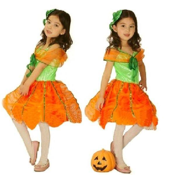 子供コスプレ ハロウィン カボチャ 魔女 パンプキンコスチューム*コスプレ衣装