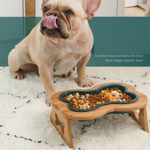 ペット用食器 ボウル 猫 犬 食器 陶器 ペットボウル フードボウル ウォーター ボウル 餌入れ 水入れ スタンド 木製 ペット皿 滑り止め 取