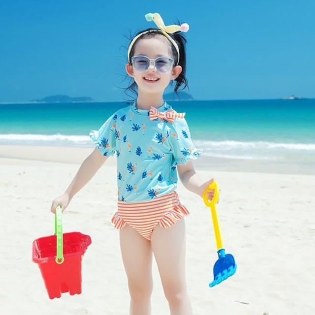 子供水着 女の子 セパレート 水着 半袖 フラミンゴ柄 フリルショットパンツ 2点セット 女児用 1?6才 スイムウェア 水着 紫外線防止 キッ