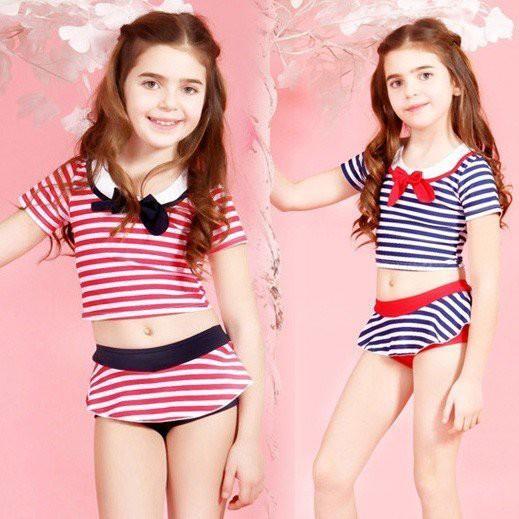 子供水着 女の子 セーラー襟のワンピース型水着 ボーダー 女児用 水着 ワンピース型 インナーパンツ一体型 ジュニア キッズ チュニックワ