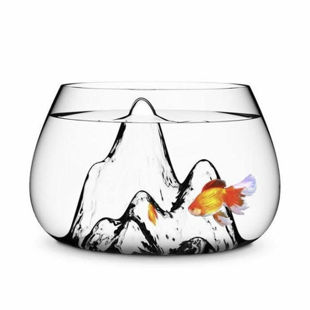 水槽 ガラス 魚 金魚鉢 オシャレ 透明 水槽装飾 インテリア 熱帯魚 シンプル 山デザイン 一体化