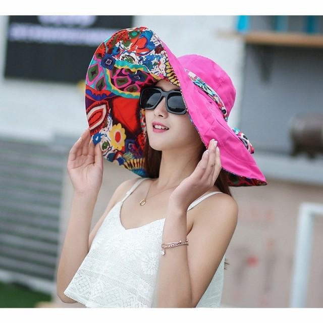 帽子 レディース サーフハット UVカット つば広 折りたたみ 女優帽 日焼け防止 ハット 小顔効果 リボン ビーチハット 飛ばない かわいい