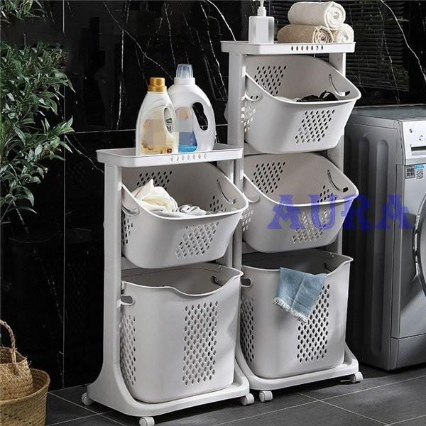 ランドリーバスケット ランドリーワゴン 2段 洗濯かご キャスター付き スリム 隙間収納 手提げ式箱 取り外し 多機能 バスルーム 収納便利