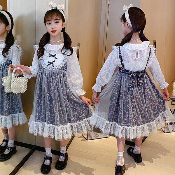 子供服 ワンピース 160 2点セット ブラウス 長袖 子供ドレス 結婚式 発表会 誕生日 ドレス 韓国子供服 キッズ 女の子 春服 レース お姫様