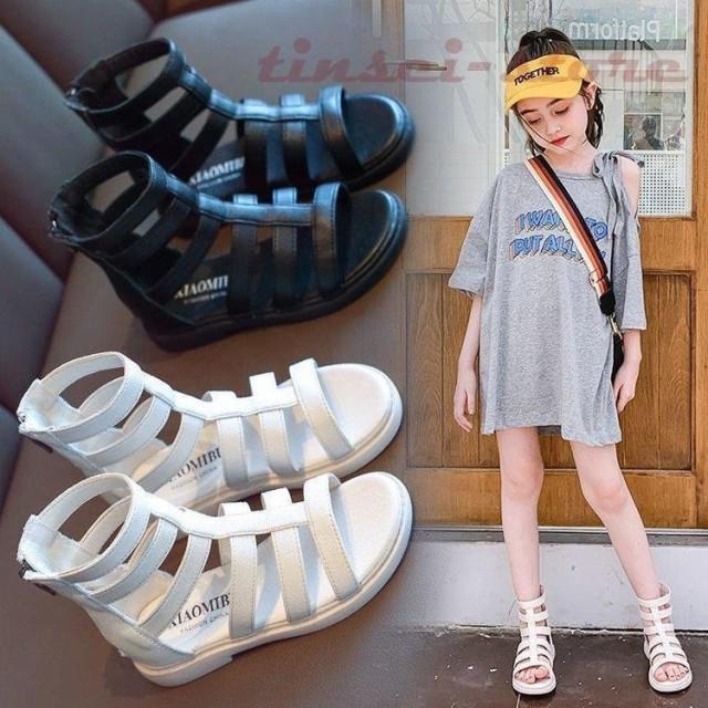 キッズサンダル 女の子 滑り止め 軽く オシャレ 歩きやすい 子供サンダル 子ども靴 キッズ グラディエーターサンダル 2色 15 16 17 18 19