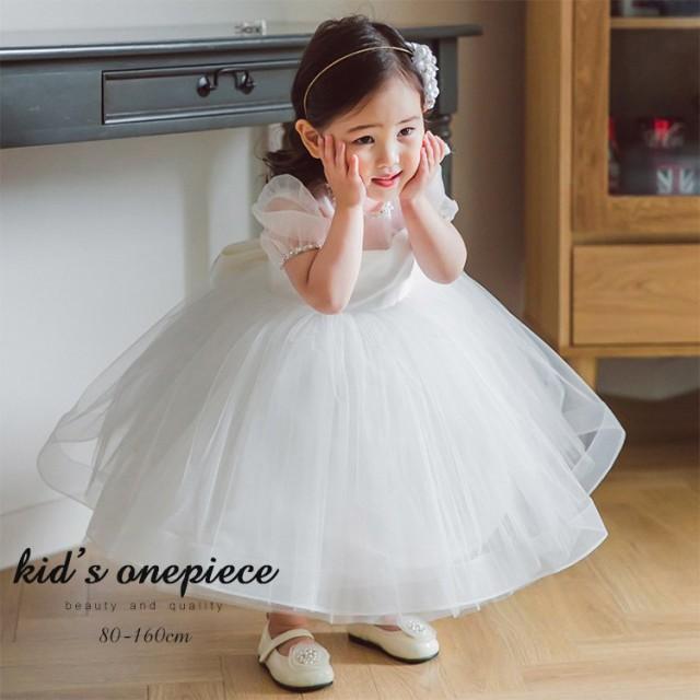 ベビードレス 結婚式 赤ちゃん 新生児 女の子 ベビー 発表会 セレモニードレス パフスリーブ リボン 春 夏 白ドレス ホワイト ワンピー