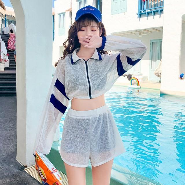 水着 レディース ビキニ 体型カバー 4点セット 可愛い タンキニ セパレーツ オフショル カバーアップ 旅行 温泉