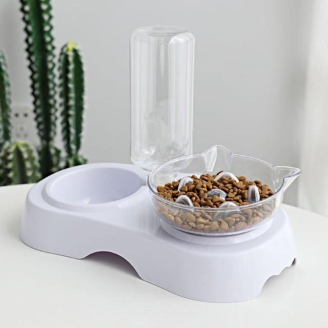 ペット給餌器 早食い防止 猫 犬 自動給水器 フードボウル 透明 餌入れ 自動水飲 自動補給 給水タンク
