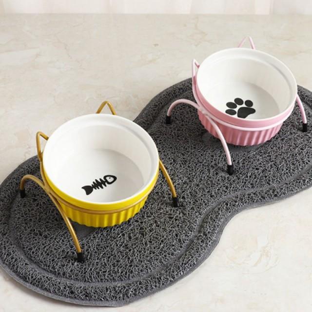 食器台 ネコ用 フードスタンド付き 可愛い カラフル フードボウル 陶器 犬 猫 イヌ 容器 えさ 給餌器 フード 容器 食器 スタンド
