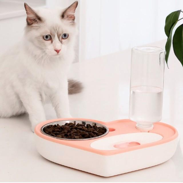 ペット用給餌器 自動給水器 ペット用品 犬猫兼用 水飲み フードキーパー ペットボトル 旅行 外出 給水タンク ステンレス
