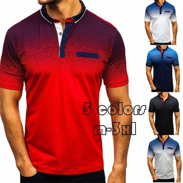 3Dプリントポロシャツ メンズ トップス 大きいサイズ 半袖 ファッション 2020 トレンド ゴルフウェア おしゃれ スポーツ 夏 ゴルフ シャ
