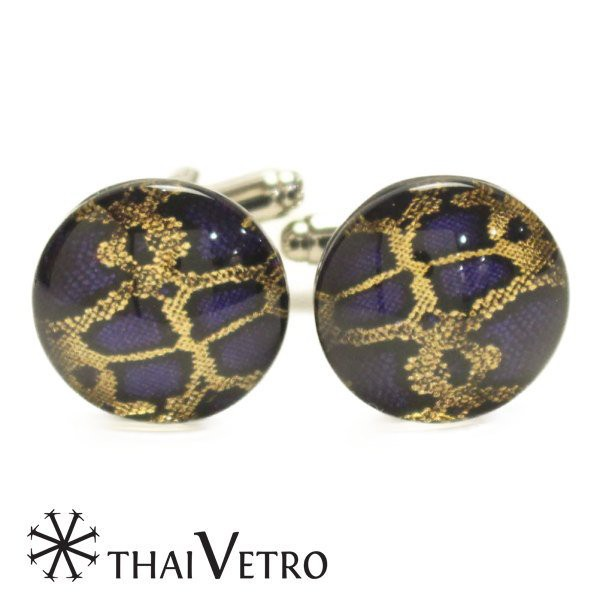 ThaiVetro パープル ゴールドライン ガラス製 カフス カフスボタン カフリンクス