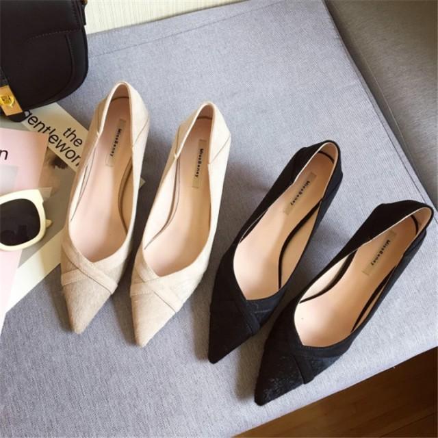 絶対使えるスニーカー 韓国ファッション 通勤ポインテッドトゥ ピンヒール パンプス