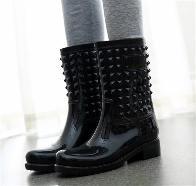 韓国ファッション トレンド 防水 滑り止めフラット ピンヒール 可愛い系 レインシューズ