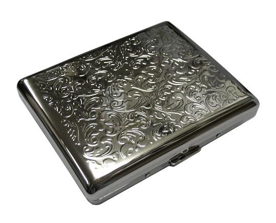 送料210円〜新品 シガレットケース20本収納(10cmロングタバコ用)シルバーアラベスク柄 スチール製(鉄製)