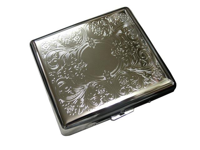 送料210円〜新品 シガレットケース20本収納(8 5cmタバコ用)シルバーアラベスク柄 スチール製(鉄製)