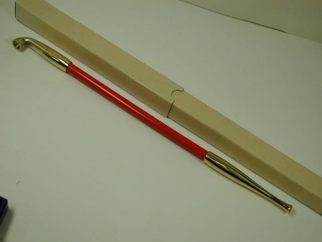 日本製(手造り)花魁煙管 キセル 天然木朱塗りオイラン★きせる小物