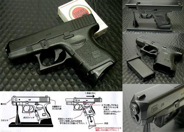 グロック型G26ターボガスライター(ブラック) スライド可動!マガジンは灰皿に!重量なんと350g! 再注入式