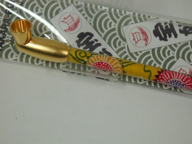 日本製 キセル煙管 宝船和紙巻き ゴールド金・黄★きせる小物