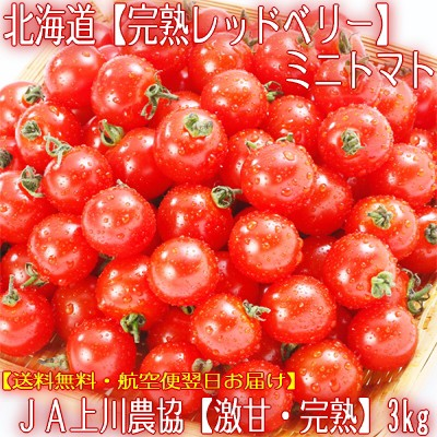 【送料無料・最高級】北海道JA上川産【完熟レッドベリー】ミニトマト 3kg箱 一番甘く美味しいトマトを直送!農園が厳選してお届け♪