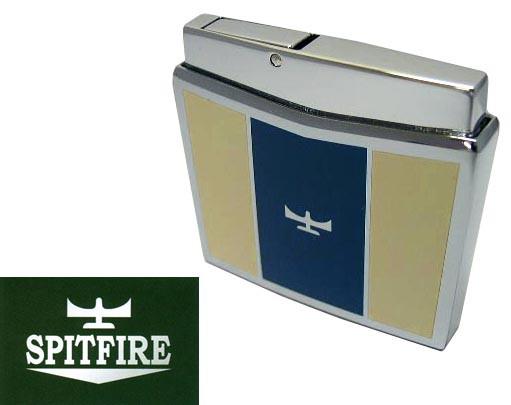 送料210円〜伝説の英国空軍機【SPIT FIRE】スピットファイヤー ガスライター(青黄) 再注入式