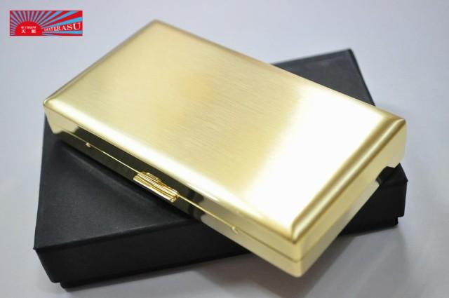 【PEARL】ゴールドサテン シガレットケース 12本 ブランド たばこケース ゴールド メタル ロング可 丈夫 ジッポ プレゼント 人気