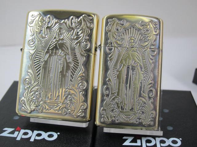 ペア・ジッポーZippoアラベスク マリア・ディープエッチング・クロス真鍮ブラス両面(2個)