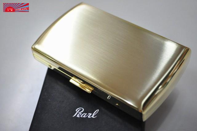 【PEARL】 ゴールドサテン シガレットケース ヴィーナス12本 ブランド たばこケース ゴールド メタル 丈夫 ジッポ ZIPPO シンプル