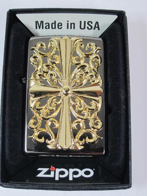 ジッポー豪華Zippo ゴールドクロス・メタル Cross黒金#150M-CRG 新品