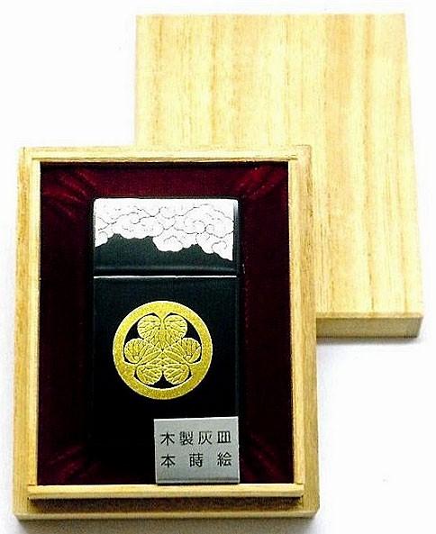 【携帯灰皿】 本蒔絵 木製灰皿 桐箱入 家紋葵