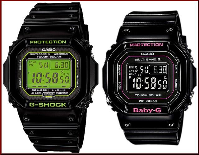 カシオ/G-SHOCK【CASIO/BABY-G】ペアウォッチ ソーラー電波腕時計 ブラック【国内正規品】GW-M5610B-1JF/BGD-5000-1JF