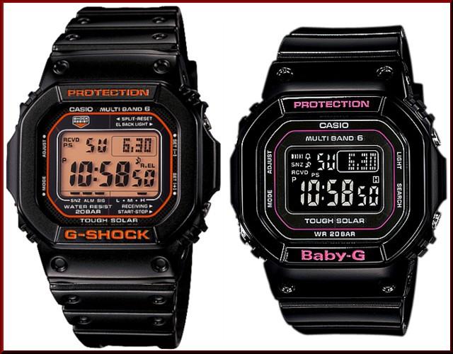 カシオ/G-SHOCK【CASIO/BABY-G】ペアウォッチ ソーラー電波腕時計 ブラック【国内正規品】GW-M5610R-1JF/BGD-5000-1JF