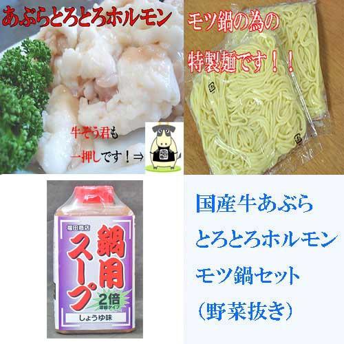 国産牛モツ鍋セット 野菜抜き 醤油味 2〜3人前用 B級グルメ モツ鍋