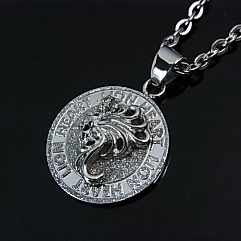 LION HEART/ライオンハート【ステンレスアクセ】メンズ ライオンモチーフコイントップ ステンレスネックレス 04N144SM(送料無料)