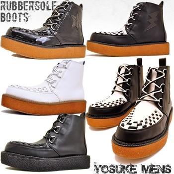 即納!YOSUKE U.S.A ヨースケ 厚底 靴 ラバーソール メンズ 厚底 ブーツ ジョージコックスタイプ ハイカット