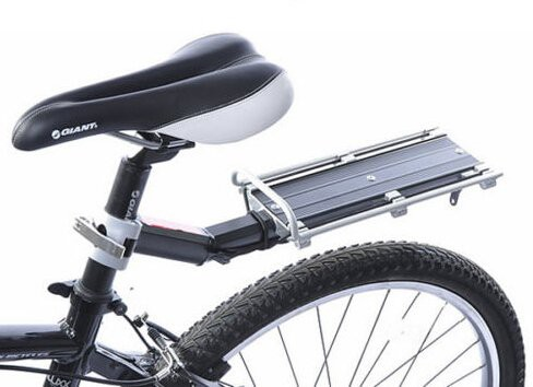 【B034】リアキャリア 後付け 自転車用荷台 ゴムひも付! シートポストに取付け簡単! 工具不要!