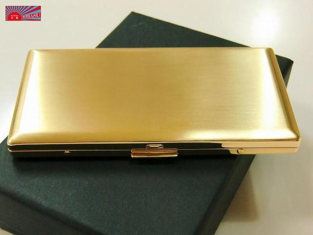 【シガレットケース 薄型6本 ゴールドサテン】 メタルケース ロング可 人気ブランド シンプル タバコケース たばこケース