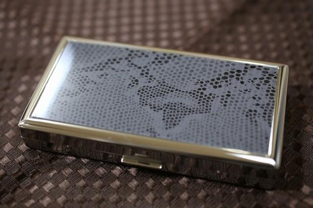 【PEARL】スネークパネル シガレットケース12本 金属製 85mm 100mm ロングサイズ ブランド 人気 たばこケース おすすめ