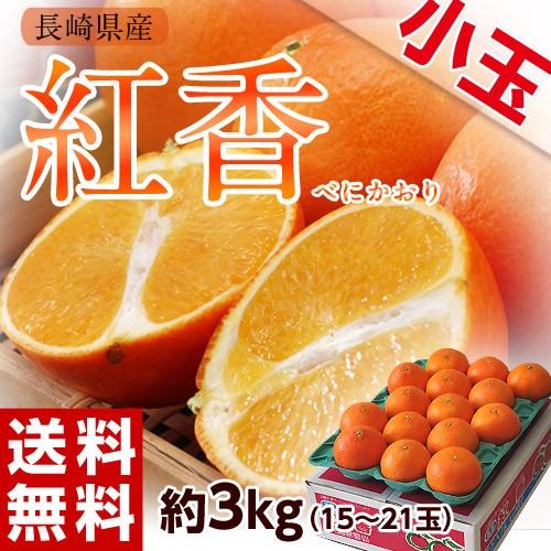 柑橘 みかん 蜜柑 ミカン 長崎県産 紅香(べにかおり) 小玉サイズ 15〜21玉 約3kg 常温 送料無料