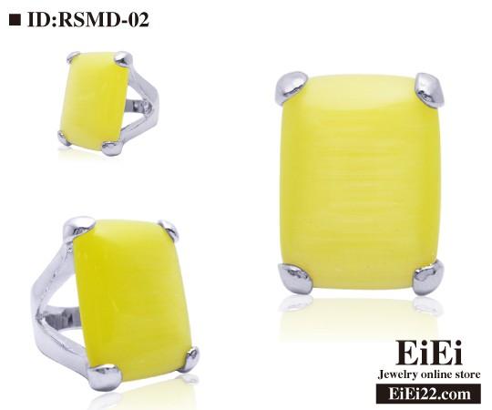 RSMD-02 キャッツアイリング パワーストーンアクセサリー 猫目石天然石指輪(黄色)