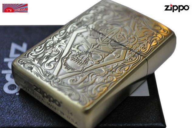 【ZIPPO】 ★クラシックドクロ彫刻◆真鍮金色古美◆人気 ジッポ 髑髏 スカル zippo おすすめ ドクロ