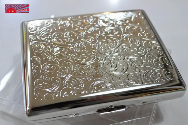 【カジュアル メタル シガレットケース アラベスク100mm】 ブランド たばこケース メタル 20本 丈夫 ロング可