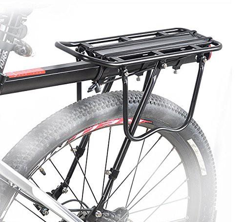 【B035】リアキャリア 後付け 自転車用荷台 耐荷重25Kg、取付け簡単! パニアバッグ取り付け可 反射板付
