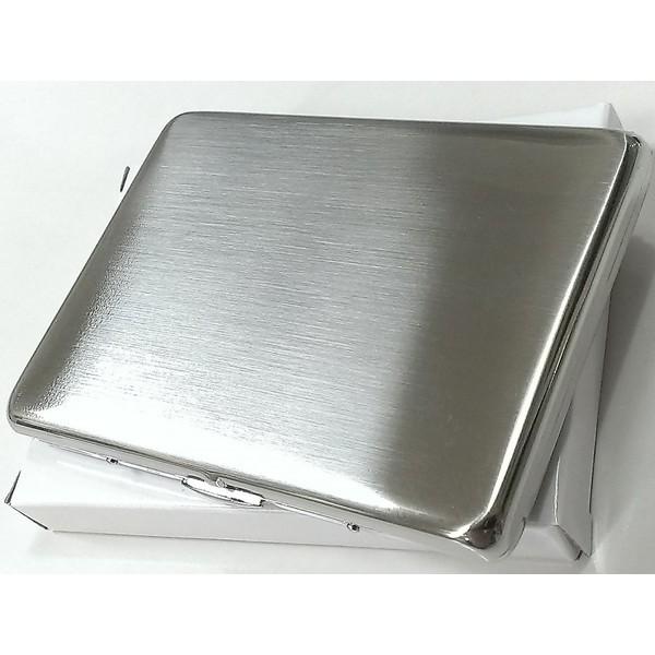 シガレットケース シルバーサテン ロングサイズ対応 薄型タバコケース 潰れない ハードケース シンプルな煙草入れ 真鍮製
