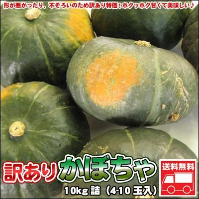 かぼちゃ 訳あり 北海道 10kg詰(4-10玉入)「送料無料」※沖縄は送料別途加算