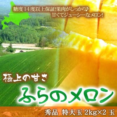 北海道 富良野メロン 秀品 特大2kg×2玉 送料無料 ※沖縄は送料別途加算